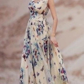 Ladies fashion loose chiffon hot sale summer print maxi women dresses beach casual o-neck 2015 sleeveless sexy long dress plus size = 1945865924