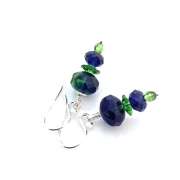 Cobalt Earrings, Blue, Emerald Green, Swarovski Crystal, Sterling Silver
