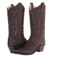 Old West Womens Sinp Toe Brown Leather Cowgirl Boots