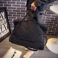 Large Leather Vintage Studded Crossbody Shoulder Bag Handbag Messenger Motorcycle