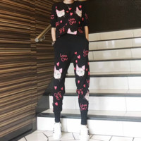 """Gucci"" Women Casual Fashion Cat Letter Middle Sleeve Trousers Set Two-Piece Sportswear"
