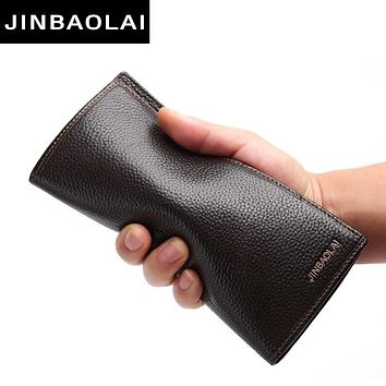Men Wallet Clutch Genuine Leather Brand Purse Male Organizer Cell Phone Clutch Bag Long Coin Purse Leather Wallet