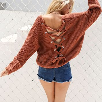 Look back at it lace up sweater