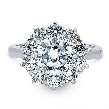 A Vintage Style 2CT Round Cut Halo Russian Lab Diamond Engagement Ring