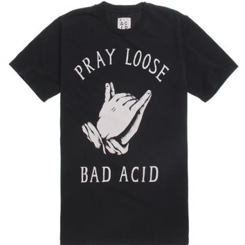 Bad Acid Pray Loose T-Shirt - Mens Tee - Black -
