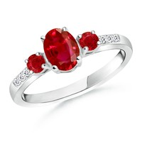 Oval, Round Three Stone Ruby Ring With Diamond Accents
