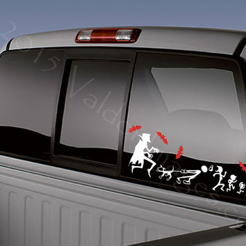 Dracula chasing stick figure family car decal auto decal car d