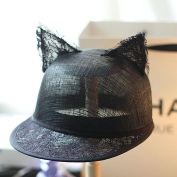 2017 Summer Luxury Elegant Black Lace Baseball Caps with Cat Ears for Women Sun Beach Party Caps Snapback Hats Linen Top Quality