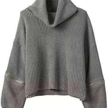 Grey Crochet Zippered Sweater