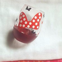 Disney Minnie Mouse Wine Glass, Glitter Wine Glass
