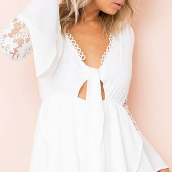 Time For Love Lace Long Flare Sleeve Cut Out Tie Romper Playsuit - 4 Colors Available