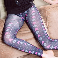 Aoki Fashion - Sweet Pattern Heart Printed Leggings Black