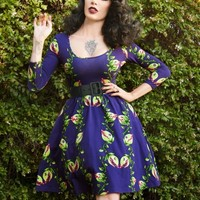 Deadly Dames Hotrod Honey Swing Dress in Venus Flytrap