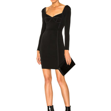 T by Alexander Wang Long Sleeve Fitted Dress in Black | FWRD