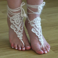 ivory Crochet Tan Barefoot Sandals, french lace, Nude shoes, Foot jewelry,Wedding, Victorian Lace, Sexy, Yoga, Anklet , Belly Dance