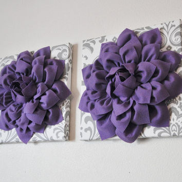 Two Lavender Dahlias on White and Gray Damask Canvases