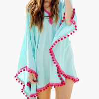 Blue and Pink Tassel Lace Kimono Top