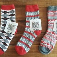 MUK LUKS Set of 3 Pairs Womens Nordic & Fair Isle Crew Socks Red & Hearts