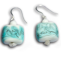OCEAN porcelain Sterling silver earrings/ blue matte earrings/ abstract contemporary earrings