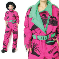 1980s Neon Ski Suit Womens Snowsuit Winter Snow Suit Hipster Snowboarding Suit Screen Printed Belted Jumpsuit One Piece Head Sportswear (M)