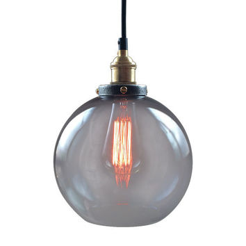 Brief Retro Glass Ball Pendant Lamp Vintage Ceiling Lights Copper Wire Pendant