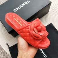CHANEL high quality summer new flat bottom velcro camellia half slippers F-RCSTXC red