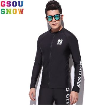 Gsou Snow Brand Rash Guard Men Long Sleeve Swim Shirts Diving Clothes Summer Beach Motorboat Surf Shirts Triathlon Wetsuit Tops