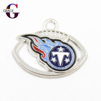 20pcs Tennessee Titans Charms Football Sport Team Floating Charms Hanging Dangle Charms For Women Necklace Bracelet DIY Jewelry