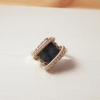 Square Boulder Opal Silver Ring, Sterling Silver Wire Wrapped Adjustable Ring