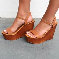 Deserve It Tan Wooden Platform Wedge Heels