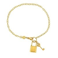 14k Yellow Gold Chain Lock And Key Bracelet, 7.5""