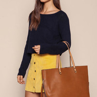 BROWN LEATHERETTE TOTE BAG