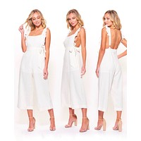 woven wide leg culotte jumpsuit with waist self tie in white