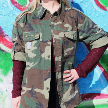 Studded Camo Jacket Camouflage Army Jacket Womens Mens - Free Shipping