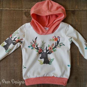 Baby Children Handmade Organic Jersey Knit Hooded Sweatshirt Deer Floral Woodland Hoodie