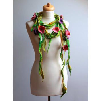Felted Floral Scarf Necklace Violet Pink Flowers Floral Green Felted Lariat  Dread Spring Fashion Belt Headband Bloom Summer