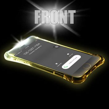 Calling Flash Light Case For Iphone 5 5s 6 6s Plus Soft Anti-Knock Clear Transparent TPU Luminous Cover Flashing Waistline Cases