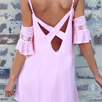 Pink Strappy Cut-Out Bare Shoulder Cami Dress