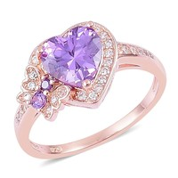 14K Rose Gold over Sterling Silver Butterfly Ring