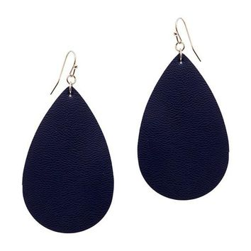 Tear Drop Leather Earring, Navy