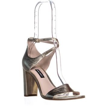 Nine West Nunzaya Heeled Ankle Strap Sandals, Light Gold Multi, 6 US