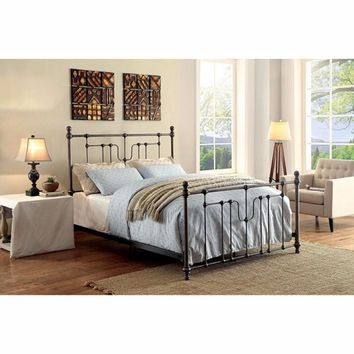 Accentuated Metal Eastern King Size Bed With Headboard & Footboard, Black