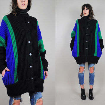 cocoon MINIMALIST vtg 80's COLORBLOCK draped Sweater coat CARDIGAN jumper Wool batwing