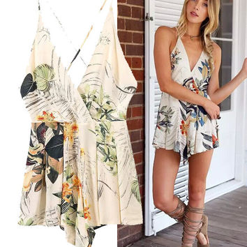 Stylish Cotton Print Shorts Jumpsuit [5013336260]