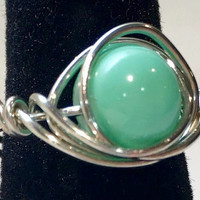 FREE SHIPPING Aquamarine Handmade Sterling Silver Wire Wrapped bead Ring