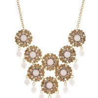 White/Gold Bead & Faceted Stone Bib Necklace by Charlotte Russe