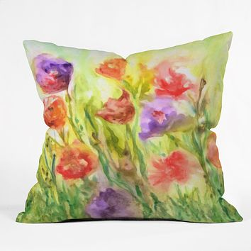 Rosie Brown Summer Flowers Throw Pillow