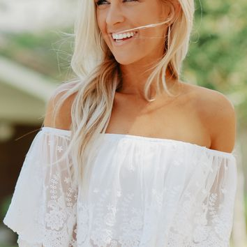 Lace Off The Shoulder Crop Top Ivory