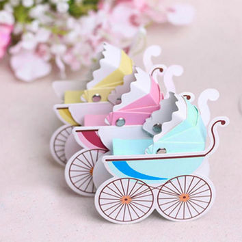 10pcs pack New Fashion Creative Carriage Candy Box Boxes For Wedding Party Baby Shower Favor Gift
