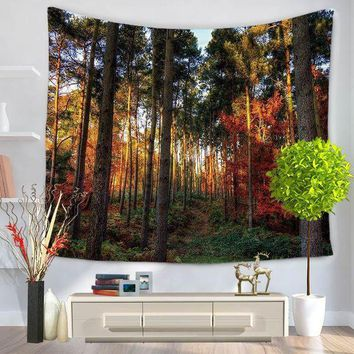VONESC6 Home Decorative Wall Hanging Carpet Tapestry 130x150cm Rectangle Bedspread Forest Scenic Sun Tress Pattern GT1036
